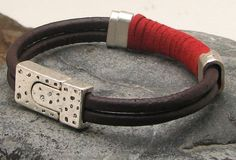 Brown and red leather men's cuff bracelet with silver plated spacers and magnetic clasp by eliziatelye