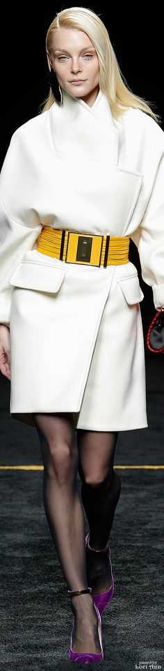 Balmain Fall 2015 RTW white coat yellow belt women fashion outfit clothing style apparel @roressclothes closet ideas