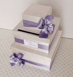 Custom Made WEDDING CARD BOX Money Holder Purple Wisteria Ivory. $98.00, via Etsy.