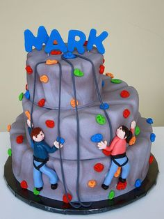 Who needs a Rock climbing cake? Those grumpy ladies in the bakery at Sam's make awesome birthday cakes.even if they do misspell the names. Party Rock, Fondant Cakes, Cupcake Cakes, Cupcakes, Rock Climbing Cake, Climbing Wall, Decoration Patisserie, Sport Cakes, Novelty Cakes