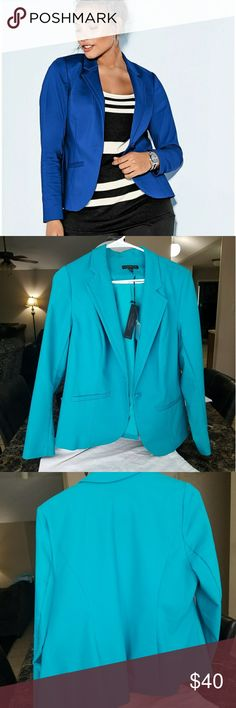Lane Bryant Double Weave Stretch Teal Jacket NWT This jacket is so beautiful. Unfortunately, I didn't like the way it fit my arms. I also didn't notice the small flaw it had on the back of jacket  as shown on last picture. Store must off put security tag there. Not noticeable unless up close Lane Bryant Jackets & Coats Blazers