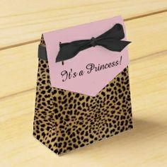 Princess leopard print favor boxes #princess #babyshower #leopard