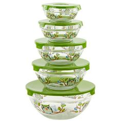 10pc. Glass Bowl Set - Owl Decal