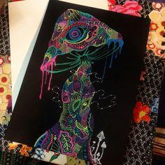 Trippy Mushrooms, Hippie Trippy, Psychedelic Art, Zentangle, Stuffed Mushrooms, Skull, Neon, Drawings, Drugs