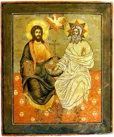 """""""Святая Троица""""-одна из трех главных икон,которые должны быть в каждом доме.Перед иконой молятся о прощении грехов. Она считается исповедальной."""
