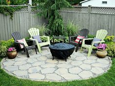 A round patio with chairs and firepit