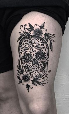 Are you thinking about getting a Sugar Skull tattoo? Check our collection of unique sugar skull tattoos for your next ink. Day Of The Dead Skull Tattoo, Small Skull Tattoo, Skull Tattoo Flowers, Skull Girl Tattoo, Skull Tattoo Design, Tattoo Designs, Dragonfly Tattoo, Feminine Skull Tattoos, Skull Thigh Tattoos