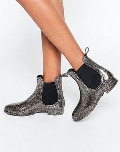 JuJu Black Glitter Chelsea Wellington Boots