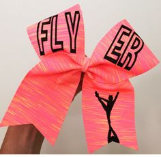 Flyer Neon Sunset Spandex Cheer Bow black glitter details ponytail holder attached! Free Shipping!