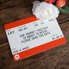 Ensure that your guests save the date in style with these charming Save The Dates in the style of Great British train tickets!Please fill out the boxes opposite with your details including, name, date, number of adults and number of children. Once I have received these details I will send you a jpeg for you to approve within 3 days. Please check very carefully that the details are correct as once they have gone to print no refunds will be given or changes made. These unique train ticket save…