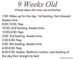 Birth to 6 Months Baby Schedule - Hashtag Motherhood. 9 week old schedule