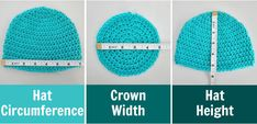 how to crochet hat in any size - free pattern and tutorial hat size chart How to Crochet Basic Hat in Any Size - free pattern & tutorial Crochet Hat Size Chart, Crochet Baby Blanket Sizes, Newborn Crochet, Crochet Baby Hats, Crochet Slippers, Crochet Beanie Hat, Knitted Hats, Slouchy Beanie, Crochet Bebe