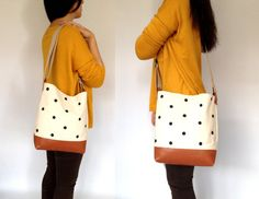 Dotted Leather & Canvas Tote Bag Eco Natural by metaphore on Etsy