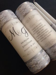 Monogram unity candle and memorial candle  Lace by JaxDesigns27