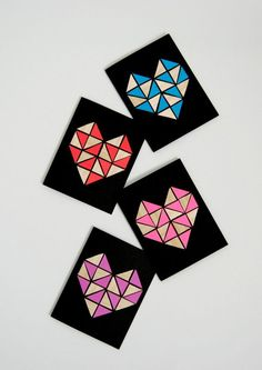 Geometric Heart Cards made with wood veneer and paper - http://northstory.ca