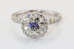 Henri Daussi Brilliant Cut Diamond Engagement Ring in 14 Karat White Gold