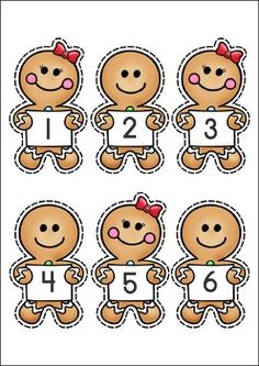 Christmas Math Centers for Kindergarten 87 pages. A page from the unit: Match the gingerbread numeral to the gumdrop number word
