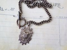 Antique English sterling watch fob necklace by thejunkdiva on Etsy, $125.00