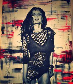 120 cm x 100 cm Öl, Acryl Rocklady women