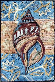 This is a handmade marble mosaic of multicolored shellfish and it is composed of natural stones and hand cut tiles. Mosaic Uses: Floors Walls or Tabletops both Indoor or Outdoor as well as wet places such as showers and Pools. Mosaic Artwork, Mosaic Wall Art, Glass Wall Art, Stained Glass Art, Tile Art, Mosaic Vase, Marble Mosaic, Mosaic Tiles, Mosaic Stairs
