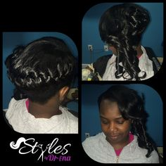 Updo on pull up Sew In