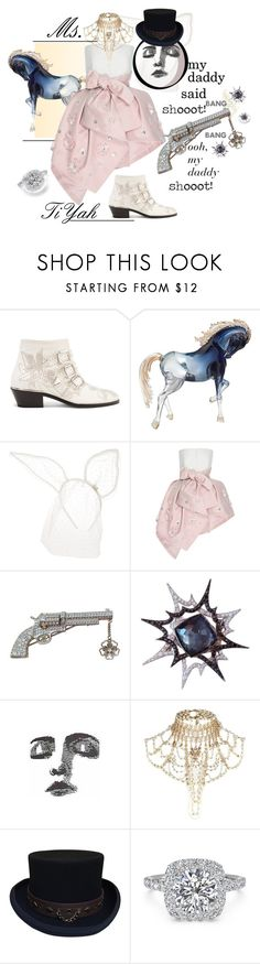"""""""Calling All Shoe-A-Holics: Chloé Susanna Studded Leather Ankle Boots"""" by ggtia ❤ liked on Polyvore featuring Chloé, Maison Michel, Delpozo, Stephen Webster, River Island and Ritani"""
