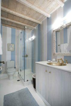 House of Turquoise: Mykonos Panormos Villas Fun News! Beach Theme Bathroom, Beach Bathrooms, Bathroom Ideas, Bathroom Designs, Seaside Bathroom, Downstairs Bathroom, Small Bathrooms, House Of Turquoise, Teenage Girl Bathrooms