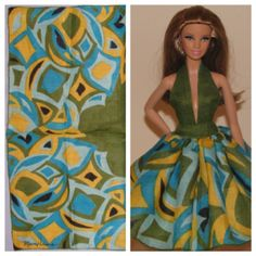 Ooak Barbie doll halter dress and the vintage hankie it was made from