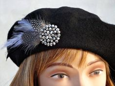 Black wool beret hat with feathers & sparkly beaded setting: Christmas, warm, stylish, trendy, vogue, vintage look, dressy hat, 1940's style...