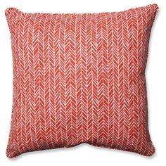 Outdoor/Indoor Herringbone Tomato Floor Pillow - Pillow Perfect, Red