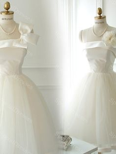 Adorable Bowknot White Ball Gown One-shoulder Neckline Mini Homecoming Dress with Lace up/ Corset Back, short prom dress #onlinestore #fashion #musthave #shop #socialbliss #haute