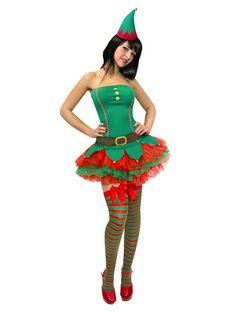 Weihnachtselfe, , rot-grünes Weihnachts-Elfinnen-Kostüm – Erlebnisse & Events