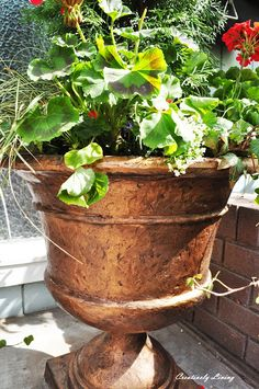 Dressing Your Planters for Less with Metallic Gold Spray paint. Must try.