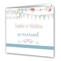 Faire-Part mariage - Fanions pastels