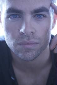 Chris Pine.... Just saw latest Star Trek & so many close up shots of that face..  Blues eyes & those lips. YUM