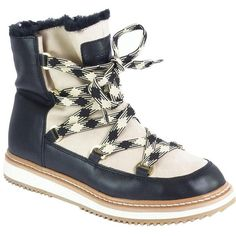 Kate Spade New York Samira Leather and Faux Fur-Lined Boots ($200) ❤ liked on Polyvore featuring shoes, boots, ivory, lace up platform boots, lace up boots, leather boots, white winter boots and kate spade boots