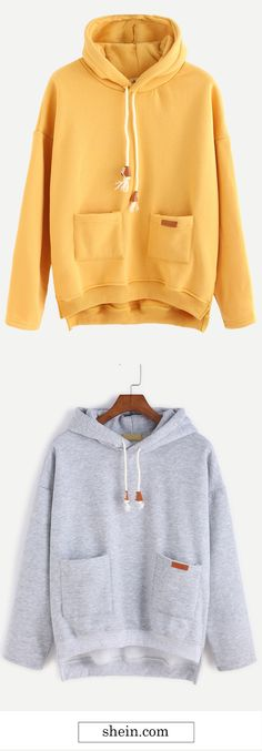 Slit Side High Low Hooded Sweatshirt Collect.