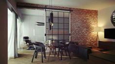 szklane drzwi przesuwne w czarnych metalowych ramach na ścianie z czerwonej cegły - Lovingit.pl