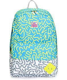 """Dakine // Get psyched for your next trip with a unique blue and yellow squiggle line print upper with a grey and white print lower plus a 15"""" padded laptop sleeve in the main compartment."""