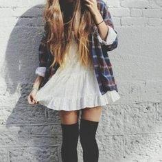Make a summer sundress work for fall by adding an open plaid shirt and thigh-high socks