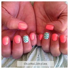 Neon peach and turquoise summer nail art! | Chic Nail Styles