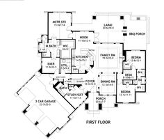 I love the open family space, jack and jill bed and bath, library and exercise room in this plan