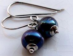 Iridescent blue black pearl earrings - Sterling silver handmade jewelry - June birthstone
