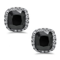 3.0ct Black Cushion Cut Diamond Halo Stud Earrings 18k White Gold /... (11.095 ARS) ❤ liked on Polyvore featuring jewelry, earrings, womens jewellery, black earrings, black diamond earrings, white gold stud earrings and pandora jewelry