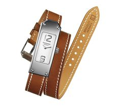 Kelly 2  Hermes steel watch, 41.5 x 15.4mm, white dial, quartz movement, long double tour natural Barenia calfskin leather strap