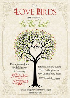 Love Birds Tree Bridal Shower Invitation  by PartyPopInvites, $16.00