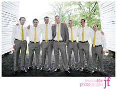 Like this. Grey pants would work too, but this would work with the black or khaki pants and obviously ties that match your wedding colors.