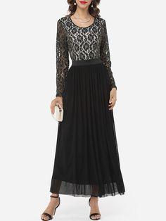 #Fashionmia - #Fashionmia Hollow Out Lace Patchwork Graceful Round Neck Maxi-dress - AdoreWe.com