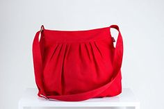 Red Bag Fully Lined Purse Bag Pleated Bag Washable Shoulder Crossbody Use Gift Idea Daily Use Bag Canvas Bag Different Colors are Available Hippirhino * Find out more at the image link. #Handmadehandbags