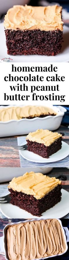 Moist buttermilk chocolate cake topped with homemade peanut butter frosting is the best dessert ever! Moist buttermilk chocolate cake topped with homemade peanut butter frosting is the best dessert ever! Peanut Butter Frosting, Homemade Peanut Butter, Homemade Chocolate, Köstliche Desserts, Chocolate Desserts, Delicious Desserts, Chocolate Frosting, Cake Chocolate, Baking Chocolate